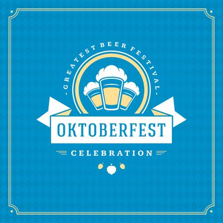 Oktoberfest beer festival celebration vintage greeting card or poster Illustration
