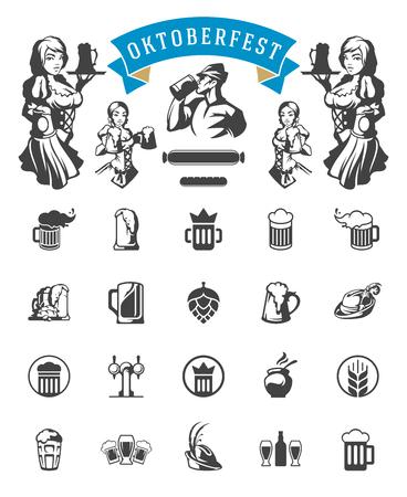 bar: Oktoberfest celebration beer festival icons and objects set