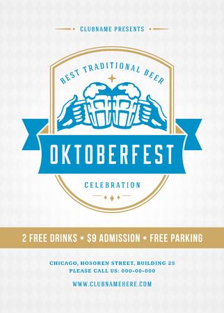 Oktoberfest beer festival celebration retro typography poster Illustration