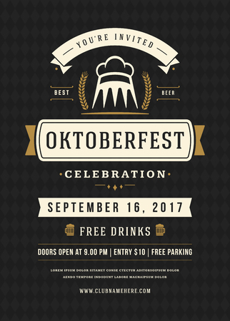 bar: Oktoberfest beer festival celebration retro typography poster Illustration