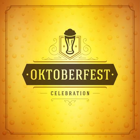 celebration party: Oktoberfest beer festival celebration vintage greeting card or poster and beer illustration.