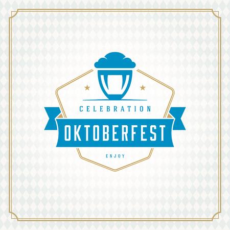 bar: Oktoberfest beer festival celebration vintage greeting card or poster and beer illustration.