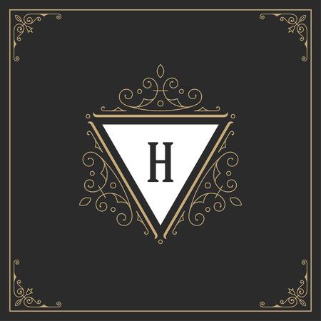 template: Ornament monogram logo design template vector flourishes calligraphic decorations elegant royal lines. Good for Luxury Crest, boutique brand, wedding shop, hotel sign. Illustration