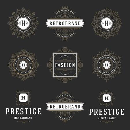template: Luxury logos templates set, flourishes calligraphic elegant ornament lines. Business sign, badges and monograms for elegant crest, boutique brand, wedding shop, hotel sign, fashion designer.