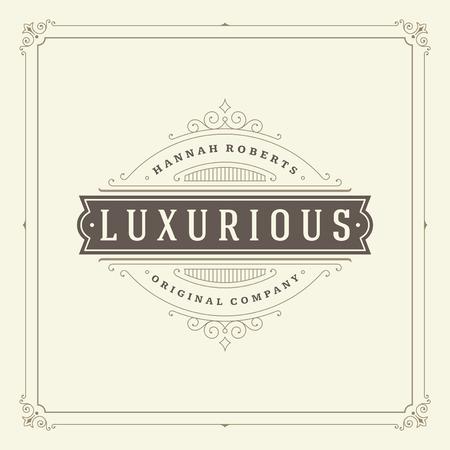 antique: Ornament logo design template vector flourishes calligraphic decorations elegant royal lines. Good for Luxury Crest, boutique brand, wedding shop, hotel sign. Illustration