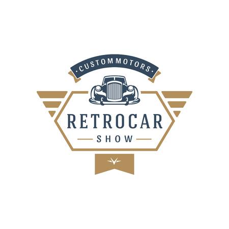 クラシックカーのロゴ テンプレート ベクトル デザイン要素ビンテージのスタイル ラベルまたはバッジのレトロなイラスト。高級車のシルエット。  イラスト・ベクター素材