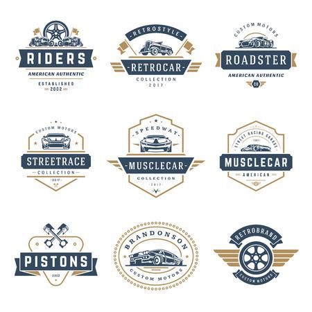 Car logotipos plantillas conjunto de elementos de diseño vectorial, estilo vintage emblemas e insignias retro ilustración. Reparaciones de coches clásicos, siluetas de servicio de neumáticos.