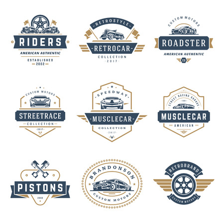 Car logos templates vector design elements set, vintage style emblems and badges retro illustration. Classic cars repairs, tire service silhouettes.