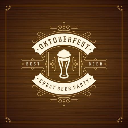 bar: Oktoberfest beer festival celebration vintage greeting card or poster and wooden background vector illustration.