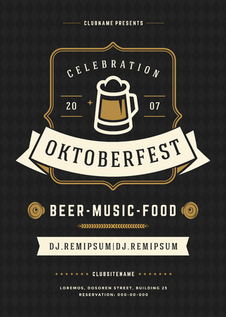celebration party: Oktoberfest beer festival celebration retro typography poster or flyer Illustration