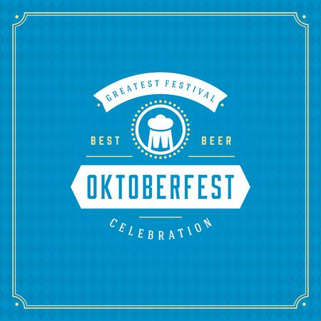 cup: Oktoberfest beer festival celebration vintage greeting card or poster and blue checkered background vector illustration.