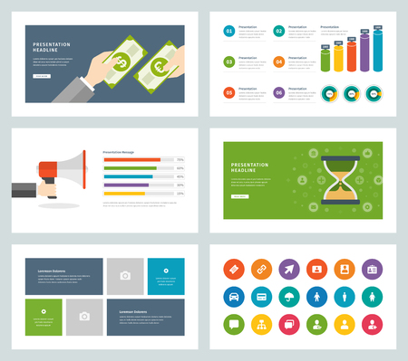 layout: Business presentation templates flat design vector infographic icons and elements.