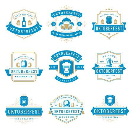 bar: Oktoberfest celebration beer festival badges, labels and logos set