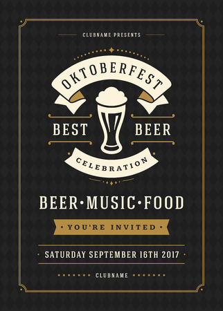 Oktoberfest beer festival celebration retro typography poster or flyer Illustration