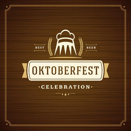 template: Oktoberfest beer festival celebration vintage greeting card or poster Illustration