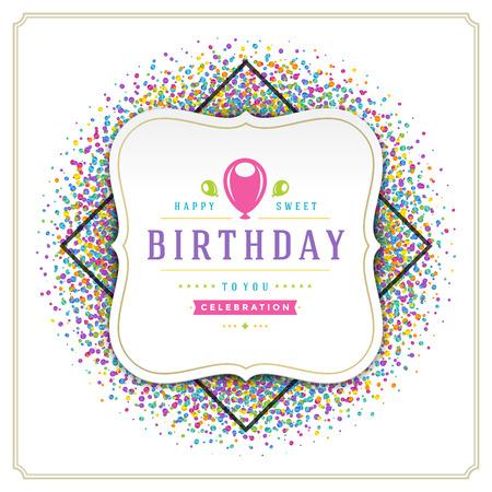 template: Happy Birthday greeting card design vector illustration.