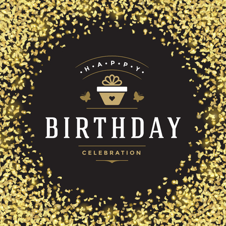 layout: Happy Birthday greeting card design vector illustration.