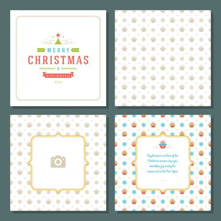 template: Christmas greeting card vector design and pattern background