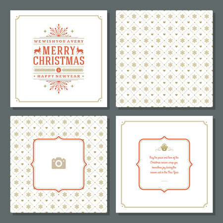 christmas postcard: Christmas greeting card vector design and pattern background