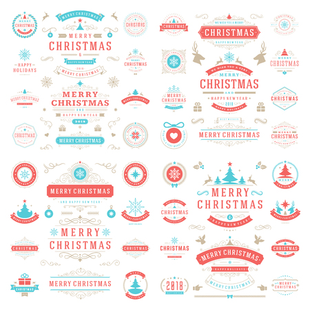 overlays: Christmas labels and badges vector design elements set.