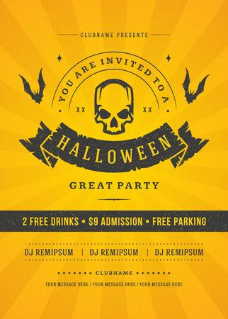 Halloween celebration night party poster or flyer design Illustration