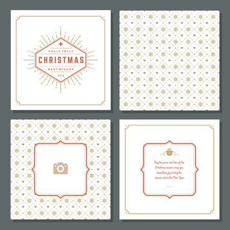 happy family: Christmas greeting card vector design and pattern background