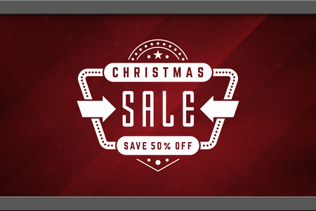 shop window: Christmas sale sticker label design on window background vector illustration. Illustration
