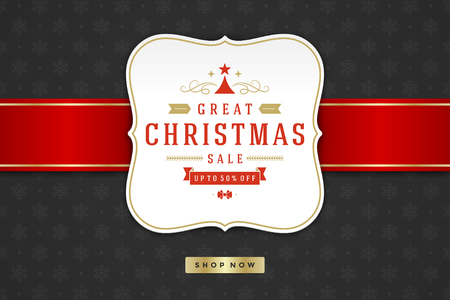 shop window: Christmas sale label design on pattern background vector illustration.