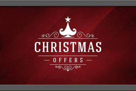 Christmas sale sticker label design on window background vector illustration. Illustration