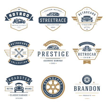 Car logos templates vector design elements set