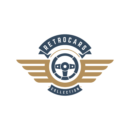 Car steering wheel logo template vector design element vintage style for label or badge retro illustration. Steering wheel silhouette. Illustration