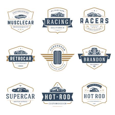 Szablony logo samochodów wektor zestaw elementów projektu, emblematy i odznaki w stylu vintage Logo