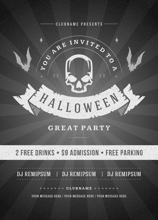 Halloween celebration night party poster or flyer design Illustration