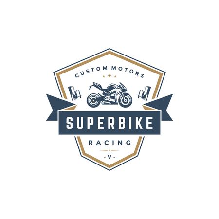 Diviértase el estilo del vintage del elemento del diseño del vector de la plantilla del logotipo de la motocicleta para la etiqueta o el ejemplo retro de la insignia. Silueta de la motocicleta.