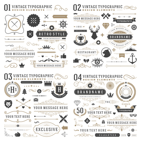 Retro vintage typographic design elements. Arrows, labels, ribbons, logos symbols, crowns, calligraphy swirls, ornaments and other. Illustration