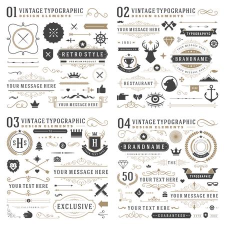 Retro vintage typografische ontwerpelementen. Pijlen, labels, linten, logo's symbolen, kronen, kalligrafie wervelingen, ornamenten en andere.