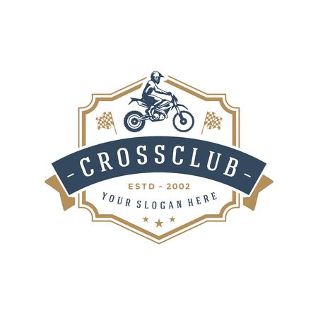 Motocross logo template vector design element vintage style for label or badge retro illustration. Motorcycle silhouette. Illustration