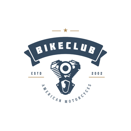 Moto club logo template vector design element vintage style for label or badge retro illustration. Motorcycle engine silhouette.
