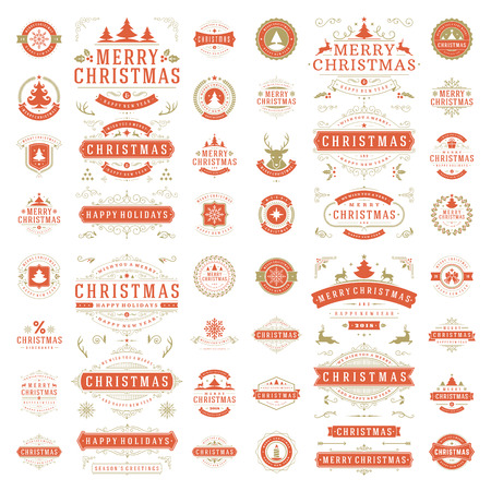 Christmas labels and badges for greeting cards and posters vector design elements set.