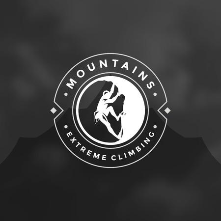 hiking trail: Climber emblem. Illustration