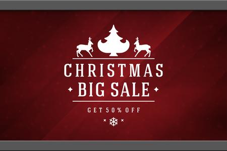 Christmas sale sticker label design on window background vector illustration. Website advertising banner or shop sale decals graphics.
