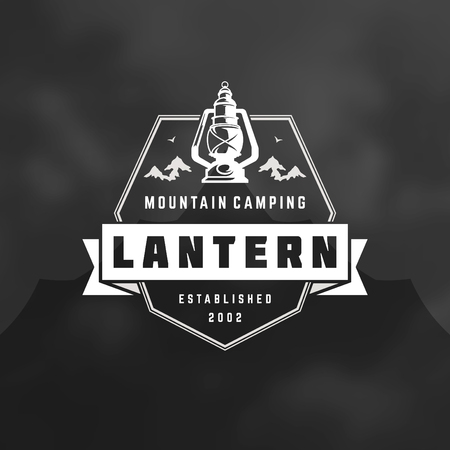 Camping logo emblem vector illustration. Outdoor adventure expedition, lantern and mountains silhouettes shirt, print stamp. Vintage typography badge design. Illustration