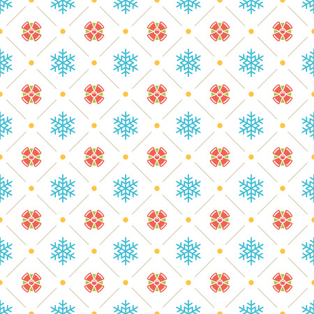 Christmas pattern vector design background, wrapping paper, greeting card. Snowflakes and gift boxes icons. Illustration