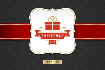 Progettazione dell'etichetta di vendita di Natale sull'illustrazione di vettore del fondo del modello. Banner pubblicitario di siti Web o grafica di vendita di negozi. Vettoriali