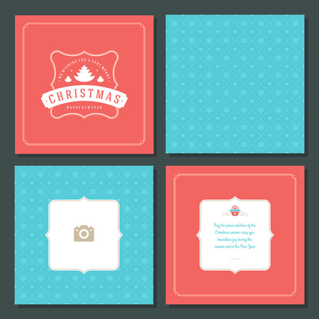 Christmas greeting card vector design and pattern background, with place for Merry Christmas holidays wish and family photo. Illustration