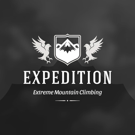 Mountains logo emblem vector illustration. Outdoor adventure expedition, mountains and flying eagle silhouettes shirt, print stamp. Vintage typography badge design. Illustration