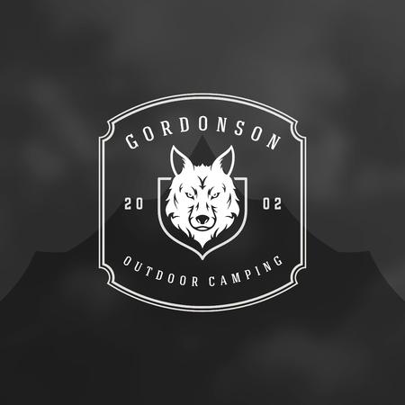 Bos camping logo embleem vectorillustratie. Outdoor avontuur vrije tijd, Wolf hoofd silhouet shirt, print stempel. Vintage typografie badge ontwerp.