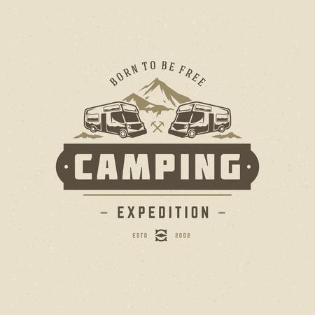 Camping logo emblem vector illustration. Outdoor camper vehicle silhouette for shirt, print stamp. Vintage typography badge design.