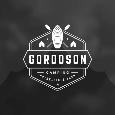 Camping logo emblem vector illustration. Outdoor adventure expedition, boat and paddles silhouettes shirt, print stamp. Vintage typography badge design.