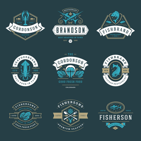 Seafood restaurant icon vector illustration. Market emblem, fish silhouette. Vintage typography badge design.